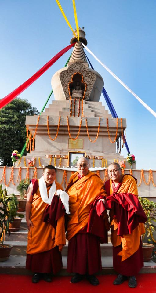 His Holiness the Dalai Lama blesses Shechen's Stupa in Sankassa