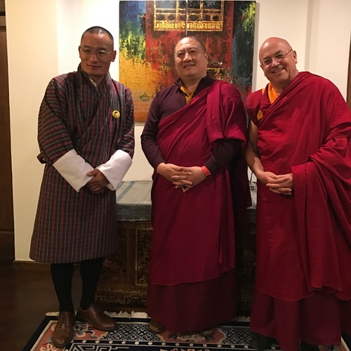 Rabjam Rinpoche with Mathieu Ricard and Prime Minister