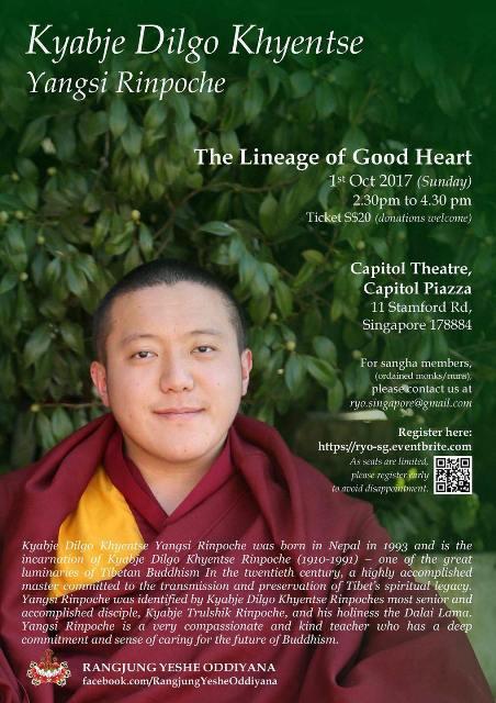 Dilgo Khyentse Yangsi Rinpoche Teaching Schedule